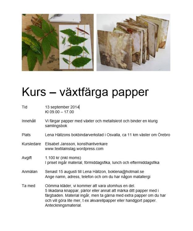 Växtfärga papper kurs 1