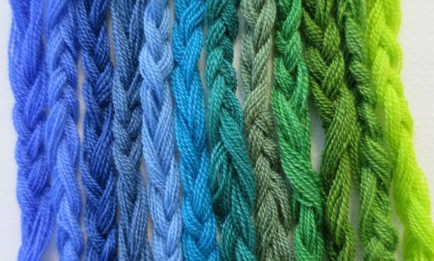 blågröna garner